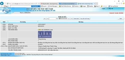 Thương hiệu Libra tại website Cục Sở Hữu Trí Tuệ VN