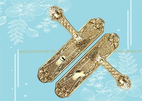 Khóa cửa gỗ bằng đồng chất liệu cao cấp mạ vàng 18K