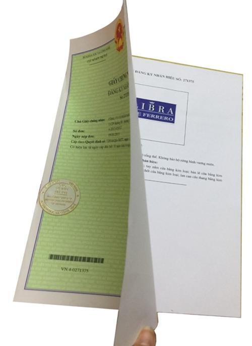 Chứng nhận thương hiệu Libra do Cục Sở Hữu Trí Tuệ VN cấp