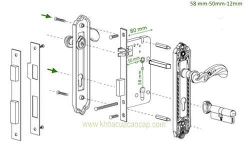 Chi tiết ký thuật khóa cửa cổ điển